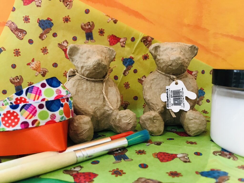 Decopatch Kit with Two Teddy Bears, Decopatch Papers, Glue and Brushes, Ribbon